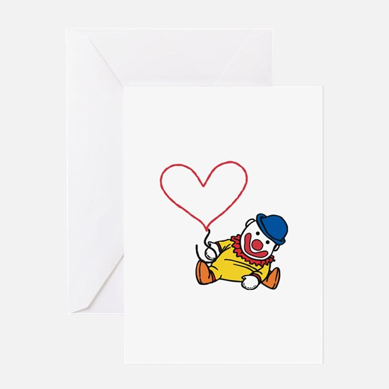 Clown Heart Caption Greeting Cards
