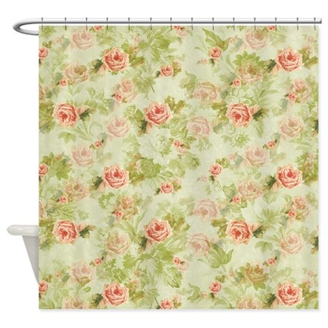 peach floral shower curtain by zenchic