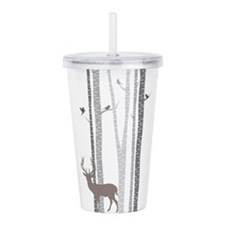 Birch Trees with Deer Acrylic Double-wall Tumbler