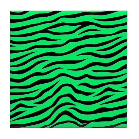 Green Zebra Print Neon Lime Green and Bl...