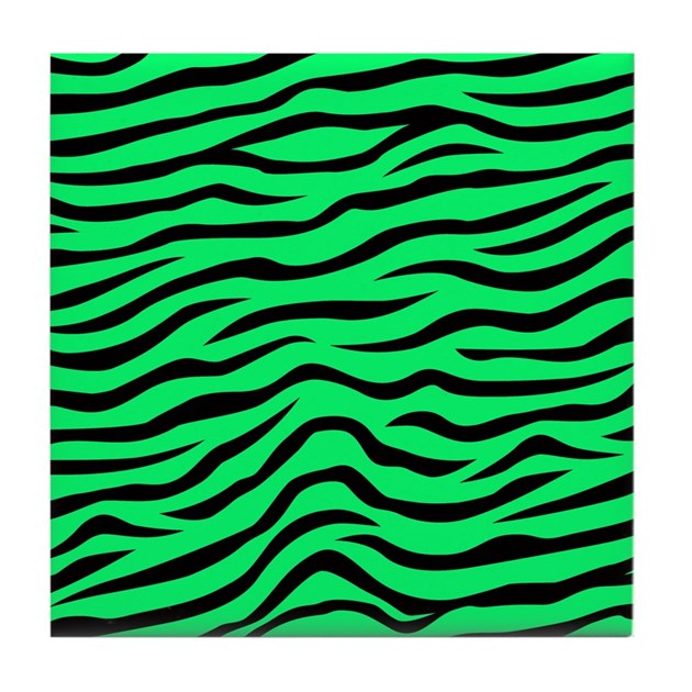 Green Zebra Print Neon Lime Green and Bl...