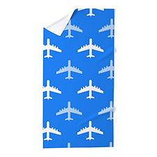 Sky Blue and White Airplane; Plane Beach Towel