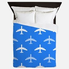 Sky Blue and White Airplane; Plane Queen Duvet
