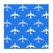 Sky Blue and White Airplane; Plane Tile Coaster