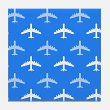 Sky Blue and White Airplane; Plane Tile Coaster