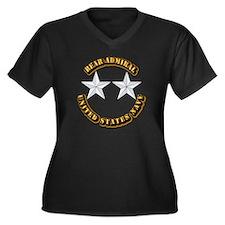 Navy - Rear Women's Plus Size V-Neck Dark T-Shirt