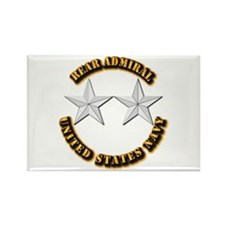 Navy - Rear Admiral - O-8- w Text Rectangle Magnet