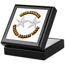 Navy - Rear Admiral - O-8- w Text Keepsake Box