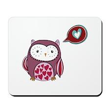 Cartoon Purple Love Owl Mousepad