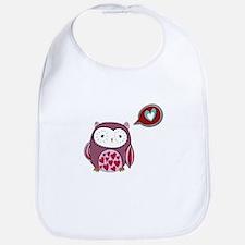 Cartoon Purple Love Owl Bib