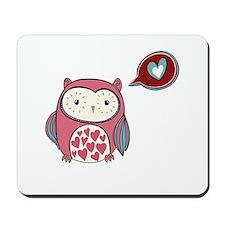 Cartoon Pink Love Owl Mousepad