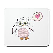 Cartoon White Love Owl Mousepad