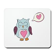 Sleeping Blue Love Owl Mousepad