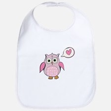 Cartoon Pink Love Owl Bib