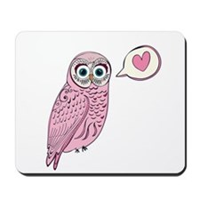 Pink Love Owl Mousepad