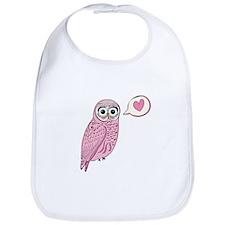 Pink Love Owl Bib