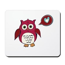 Red Love Owl Mousepad
