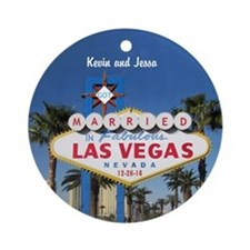 Married In Vegas Personalized Ornament (round)