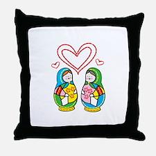 Love Nesting Dolls Throw Pillow