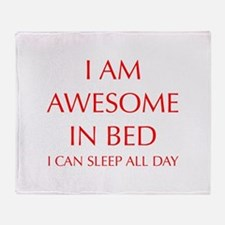 i-am-awesome-in-bed-OPT-RED Throw Blanket