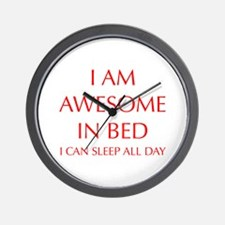 i-am-awesome-in-bed-OPT-RED Wall Clock