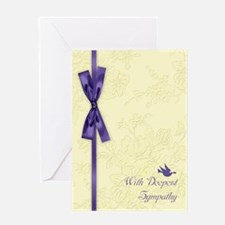 With Sympathy, Cream Embossed Greeting Cards
