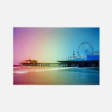 Santa Monica Pier Rainbow Rectangle Magnet