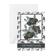 With Sympathy Stylish Black And Greeting Cards
