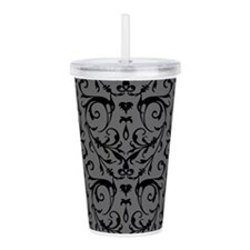 Grey And Black Damask Pattern Acrylic Double-wall