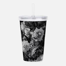 Floral Grey Roses Acrylic Double-wall Tumbler