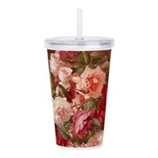 Floral Pink Roses Acrylic Double-wall Tumbler
