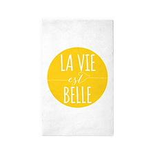 la vie est belle, life is beautiful 3'x5' Area Rug