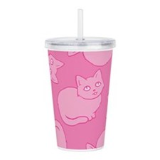 Cute Pink Cat Pattern Acrylic Double-wall Tumbler