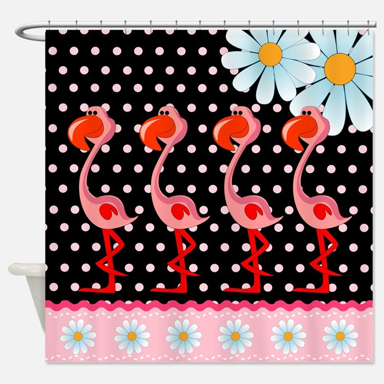 Flamingo Polka Dot Daisy Shower Curtain