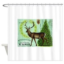 Modern vintage winter woodland deer Shower Curtain