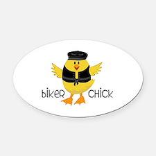 Biker Chick Oval Car Magnet