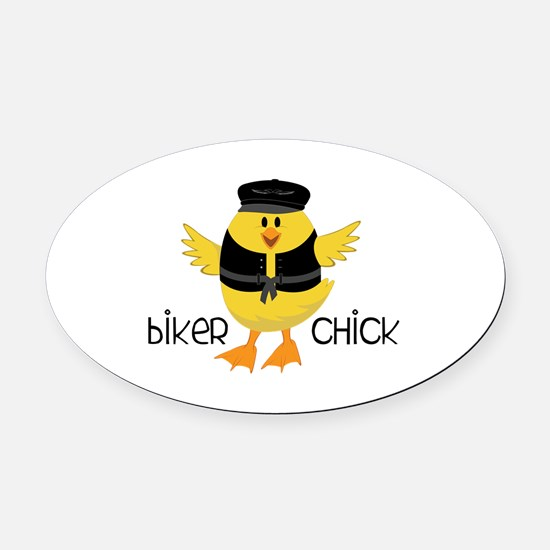 Biker Chick Oval Car Magnet