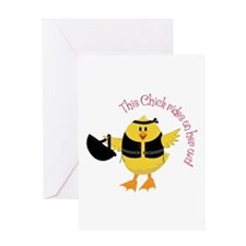 This Chik Rides Greeting Cards
