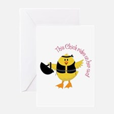 This Chik Rides Greeting Cards