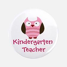 """Pink Owl Kindergarten Teacher 3.5"""" Button"""