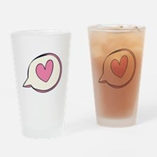 Pink Heart Thought Bubble Drinking Glass