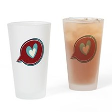 Red Heart Thought Bubble Drinking Glass