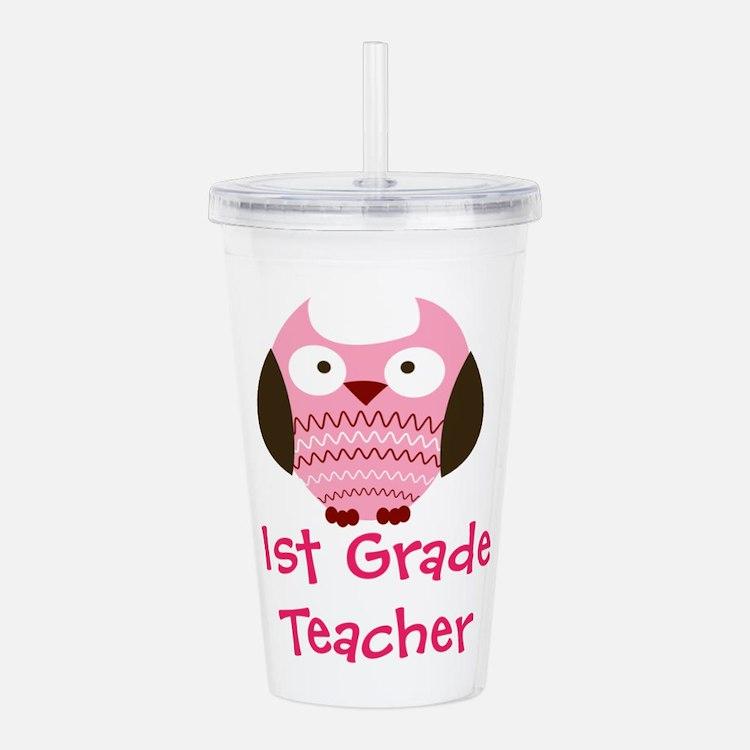 Pink Owl 1st First Grade Teacher Acrylic Double-wa