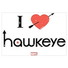 I Heart Hawkeye Red Wall Art Poster