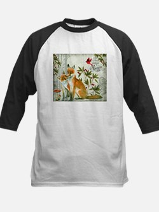 Modern vintage winter woodland fox Baseball Jersey