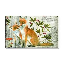 Modern vintage winter woodland fox Car Magnet 20 x