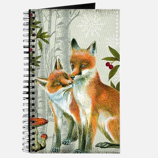 Modern vintage winter woodland fox Journal
