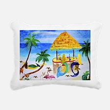 Mermaid beach bar Rectangular Canvas Pillow