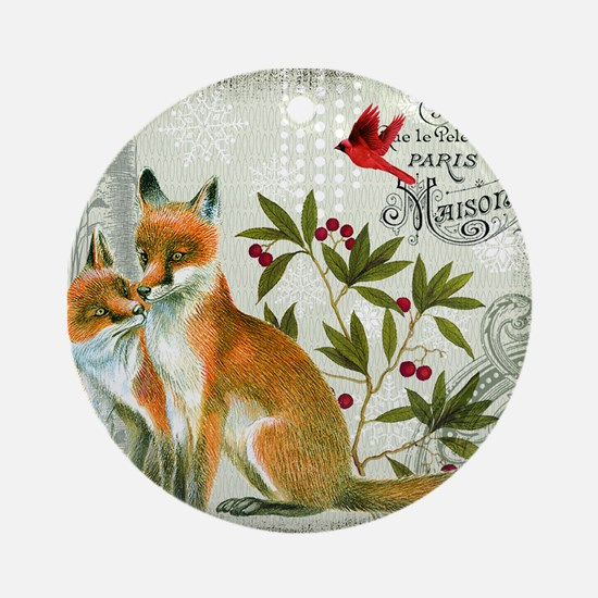 Modern vintage winter woodland fox Ornament (Round