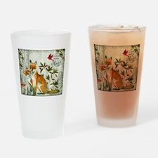 Modern vintage winter woodland fox Drinking Glass